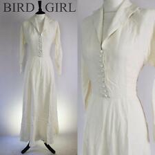 ORIGINAL WW2 1940S VINTAGE CREAM RAYON BIG COLLAR ELEGANT LONG DRESS 10 S DITA