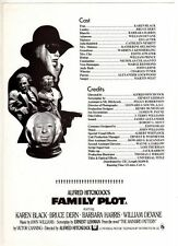 "ORIGINAL CINEMA PRESS SHEET - FOR""  FAMILY PLOT ""  - KAREN BLACK - BRUCE DERN"
