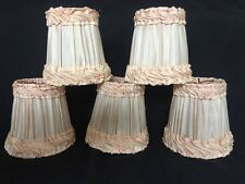 Vintage Antique Set Of 5 Clip On Light Lamp Chandelier shades French Pleated