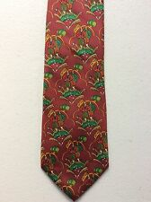 SALVATORE FERRAGAMO Vintage fashion tie 100% Silk Made in Italy Golf imagery