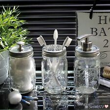 Ball Mason Jar Vintage Glass Bathroom Accessory Set with Nickel Tops - UK SELLER