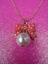 Betsey Johnson Pink Bow With Pearl Necklace