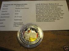 manueduc  2 EUROS ALEMANIA 2010 BREMEN CON COLORES y Certificado Nueva