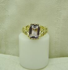 14K YELLOW GOLD NATURAL AMETHYST & DRAGONFLY RING SIZE 8 1/4 FEBRUARY N125-E