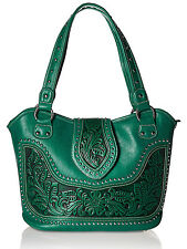 Montana West® Concealed Carry, Western Bag w/ tooled Leather Accents- Green