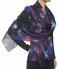 Beautiful Nebula Galaxy little Twinkle Stars Planet Chiffon Scarf Black