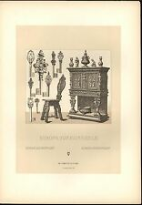 Europe 16th & 17th Century Beautifully Decorated Key c.1888 antique lovely print