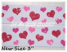"""3"""" VALENTINE WHITE RED PINK TWINKLE GLITTER LOVE HEARTS GROSGRAIN RIBBON 4 BOW"""