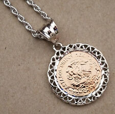 Men's Lady's Rhodium Plated 24in Rope Chain & 2 Tone Rose Gold Mexican Seal Set