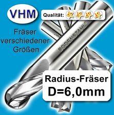 Radiusfräser 6mm für Kunststoff Holz Vollhartmetall scharf geschliffen 45mm Z=2