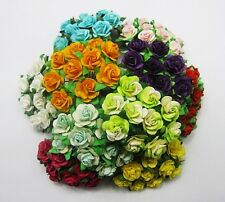 30% SALE SSV1 Mixed Colors Beautiful Mulberry Paper Roses Scrapbooking Flowers