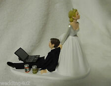 Wedding Cake Topper ~Beer Cans Computer Laptop Video Game Gamer Gaming  BEER CAN