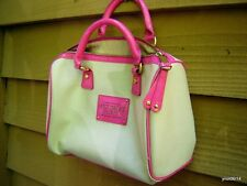 VICTORIA SECRET quality/designer PURSE/HANDBAG beige canvas pink trim~new