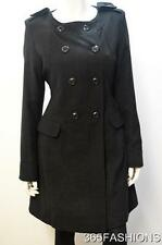 OUTERWEAR DOUBLE BREASTED POCKET WOOL COLLARLESS TRENCH COAT BLACK SIZE 14