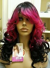 hot pink and black ombe wig synthetic VANESSA FIFTH AVENUE SUPER TIMBA LONG CURL