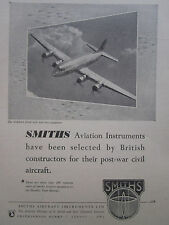 6/1947 PUB SMITHS AIRCRAFT INSTRUMENTS HANDLEY PAGE HERMES AVION ORIGINAL AD