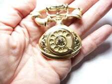 Vintage Matte Gold Tone Metal Old Fashioned Princess Rotary Telephone Brooch