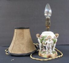 """ANTIQUE GERMAN PUTTI LAMP """"THREE CHERUBS HOLDING BALL WITH ATTACHED FLOWERS"""""""