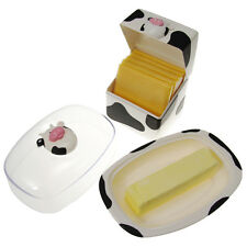 Joie Moo Moo Cow Covered Butter Dish & Cheese Slices Container Plastic Holders