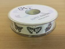 Butterfly Patterned Natural Fabric Ribbon Full 20 Mtr Reel
