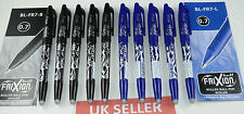 10 x PILOT FRIXION ROLLERBALL ERASABLE PENS O.7 .5X BLUE& 5 X BLACK.UK SELLER.