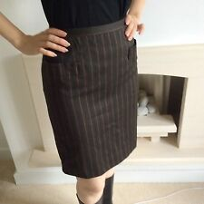 VINTAGE 1980's BROWN PINSTRIPED SKIRT FRONT POCKETS SILK LINED 36 UK 8 Short