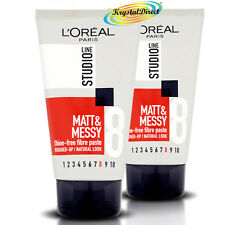 2 x L'Oreal Loreal Studio Matt and & Messy Shine Free Fibre Paste STR8 150ml