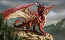 Framed Print - Massive Red Dragon Standing on a Cliff Edge (Picture Poster Art)