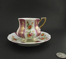 RAGRL SEALY 4 FEET  WHITE FLORAL ANTIQUE CABINET TEA CUP AND SAUCER japan