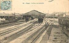 Vintage Postcard Troyes La Guerre Gare Vue D Ensamble Train Yard Aube France