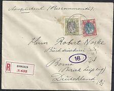 Netherlands 1921 NVPH 69A+71A R-cover Ginneken to Borna