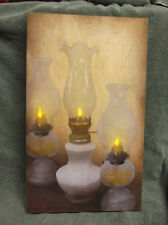 Three Oil Lamps Flickering Lighted Canvas Home Decor Wall Art NEW Primitive Look