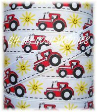 7/8 OH MY BIG RED SEXY TRACTOR GROSGRAIN RIBBON 4 HAIRBOW BOW SCRAPBOOKING BOY