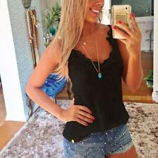 Women Summer Sexy Slim Vest Shirt Lace Crochet Camisole Tank Top Blouse Oversize