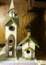Lot of 2 Church Birdhouses Wooden with metal Embellishments