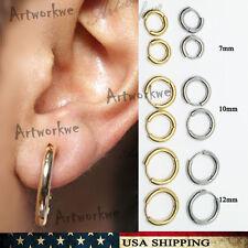 Mens Womens Stainless Steel Tube Hoop Ear Ring Stud Earrings Jewelry Punk