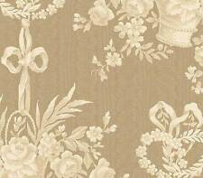 French Cottage Chic Basket Toile Cream Brown Taupe Tan Designer Wallpaper Diy