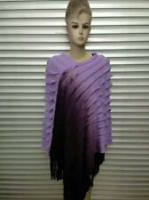 Ladies Poncho Stole Cape Shrug Wrap Shawl Jacket Jumper Sweater Stylish Dip Dye