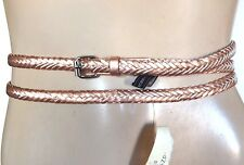 NEW BCBGMAXAZRIA BCBG BELT ROSE GOLD DOUBLE WRAP ROPE WOMENS BUCKLE ONE SIZE