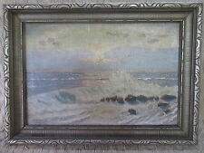 Old Oil Painting Seashore Waves Sunset Signed E.R.McKinlay 1938