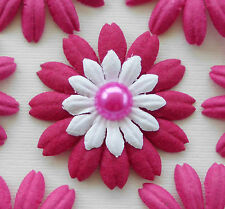 100! Mulberry Paper Flower Petal Blossom - Large Fuchsia Pink Daisy - 4cm/1.5""