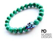 Men's Genuine Malachite Skull Bracelet with Swarovski Crystal 7-8inch