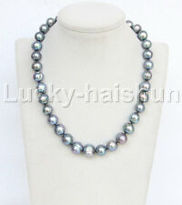 "natural 18"" 14mm near round peacock black freshwater pearl necklace 18KGP j11650"