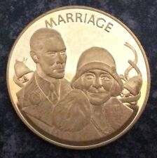 QUEEN MOTHER SOLID COPPER COMMEMORATIVE CROWN SIZE COIN 1900-80.MARRIAGE.