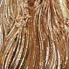 """Gold River of Flowers Sequin on 2 Way Stretch Mesh Fabric 54"""" W By the Yard"""