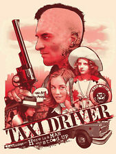 Joshua Budich Taxi Driver Bloody Red GID Variant Poster Martin Scorcese Deniro
