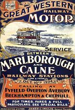 Art Print Marlborough Calne Railway Motor Poster