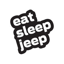 "(2) 5"" Eat Sleep Jeep Decals Stickers for Wrangler, Cherokee, Rubicon, Renegade"