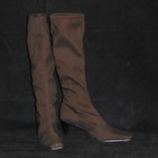 Vera Gomma Womens Knee High Fabric Brown Boots Size 9M EUC Made in Italy