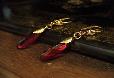 Vintage Deco Red Glass Drop Hook Earrings with Gold Leaves.